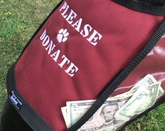 Size Large PLEASE DONATE Fundraising Dog Vest with large clear pockets for donations, Burgundy Dog Vest,  fund raising vest