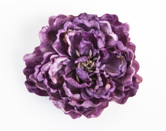 One Royal Purple with Pink Highlights Peony - Artificial Flower - 5 inches - ITEM 0887