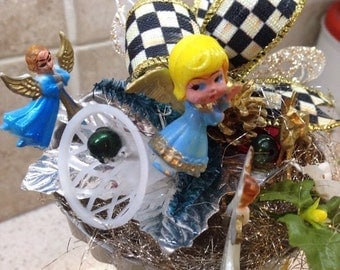 My Holiday Decoration - Vintage Angel Ornaments - MacKenzie-Childs Courtly Check Ribbon