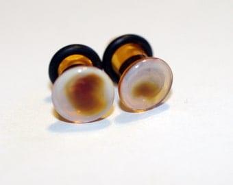 2g Amber and White Glass Plugs Body Jewelry 6mm Handmade 2 gauge