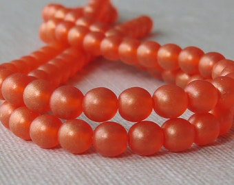 Orange Sueded Gold Lame' Czech Glass Bead 6mm Round Druk : 50 pc Gold Lame' Hyacinth 6mm Druk