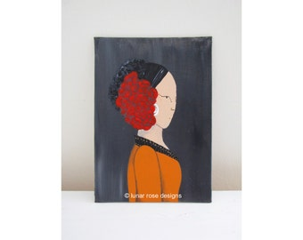 tribal belly dancer   original painting   woman   bright red flower   pumpkin orange   orange caftan   tribal dance woman   beautiful lady
