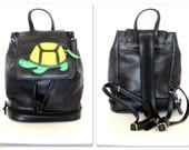 Vintage Black Backpack Small Drawstring  w Zip Bottom,Turtle Applique