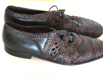 Sz 10 Vintage Woven Oxfords Black Leather Lace Up Oxfords  Euro 41