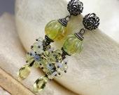 Lamp work Earrings - Gemstone Earrings - Wire Wrapped Earrings - Dangle Earrings - Opal Earrings - Lemon Quartz Earrings - Earrings