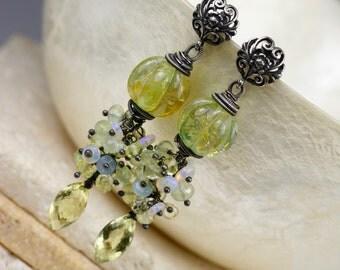 Lampwork Earrings - Gemstone Earrings - Wire Wrapped Earrings - Dangle Earrings - Opal Earrings - Lemon Quartz Earrings - Earrings