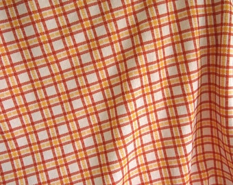 Free Shipping Large piece of Beautiful Vintage Polyester Fabric Colorful 70's double knit plaid