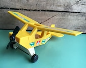 1976 Yellow Fisher Price Airplane-Fisher Price Little People-Vintage Toy Airplane