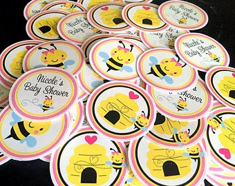 Pink Bumble Bee Baby Shower Minis / Mini Tags for Table Confetti, Use to make Cupcake Toppers & More / Personalized Set of 75 - 0032