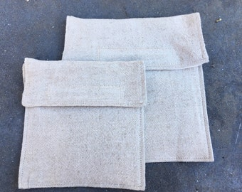 Reusable sandwich/snack bag set with velcro flap in light color hemp fabric--FREE SHIPPING