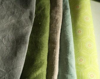 LINEN + COTTON FABRICS / remnants / 10 pieces / linen fabric / australia