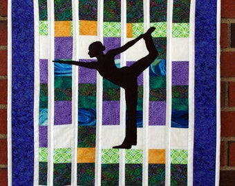 Yoga Quilted Wall Hanging, Dancer's Pose Yoga Quilt, Namaste, Quiltsy Handmade