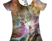 Orion Nebula Space , Womens, Girls, Crewneck, Cosmos, Outer Space, Women's Double-Sided T-Shirt, Gift, Sizes S-2XL