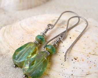 Hypoallergenic - Dangle Earrings - Handmade Earrings - Titanium Earrings - Aqua Earrings - Earrings for Sensitive Ears - Beaded Jewelry