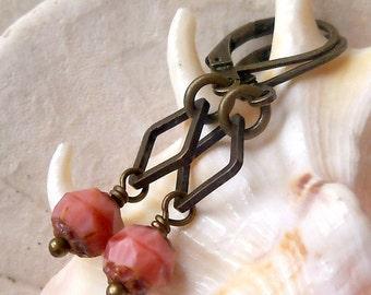 Beaded Dangle Earrings -  Coral Bead Earrings - Beaded Earrings - Glass Bead Jewelry - Coral Pink Drop Earrings - Vintage Style Earrings