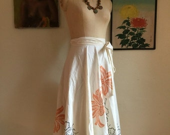Fall sale 1950s skirt wrap skirt tropical skirt size medium cotton skirt 50s skirt cover up tiki skirt rockabilly
