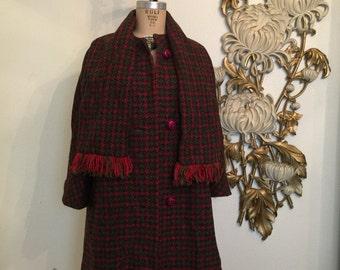 1950s coat vintage coat plaid coat red coat wool coat size medium large 1960s coat mad men coat vintage coat rockabilly coat with shawl