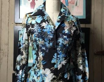 1940s floral blouse 40s silk shirt size medium Vintage blouse black flower print