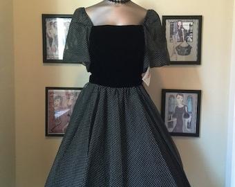 Sale 1980s party dress 80s dress black dress size small Vintage dress swiss dot dress 80s does the 50s