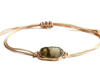 Labradorite Slab Bracelet/Latte Cord/Sliding Knot/Handmade Jewelry/Gift Ideas