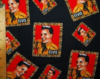 2 yds ELVIS fabric rockabilly Shamash and Sons Elvis stamp Army vintage OOP fabric