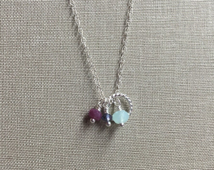 Faceted Ruby, Iolite, Chrysoprase Necklace with Twisted Ring Accent in Sterling Silver