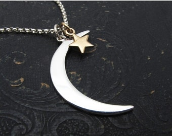 moon necklace, moon and star necklace, sterling silver moon pendant, gift for her, gift for girlfriend, gift for sister, celestial gift