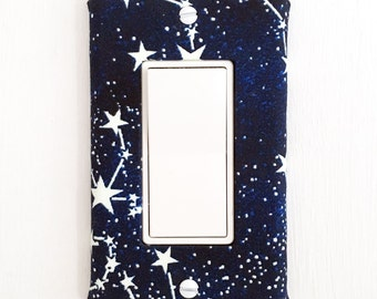 Light Switch Plate Cover, slider rocker switch, gfci outlet wallplate - navy blue with white stars / constellations