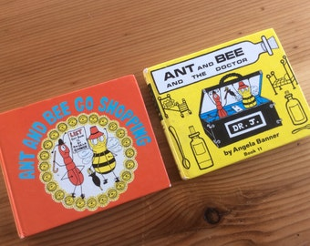 Ant and Bee Books by Angela Banner, 1976. Ant and Bee and the Doctor, Ant and Bee Go Shopping. UK Glossy Pictorial Board Hardcovers.