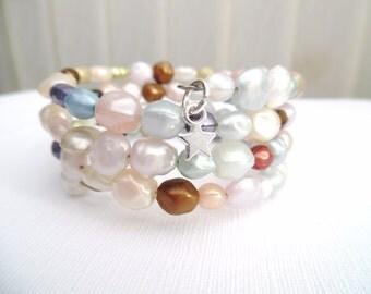 Wrap Bracelet, Pastel Coloured Bracelet, Memory Wire Bracelet, Resin Beaded Bracelet, Plus Size Jewelry, Cuff Bracelet, Chunky Bracelet