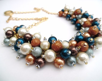 Teal Tan Ivory and Gold Pearl Necklace, Festival Jewelry, Bridesmaids Gift, Pearl Wedding Jewelry, Chunky Necklace,  Statement Necklace