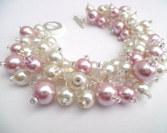 Ivory and Pink Pearl Bracelet, Bridesmaid Jewelry, Cluster Bracelet, Beaded Bracelets, Ivory Wedding Jewelry, Pink Bridesmaids Bracelets