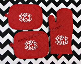 Custom, Personalized, Monogrammed, Personalized, Oven Mitts, Pot Holder Set, Oven Mitt