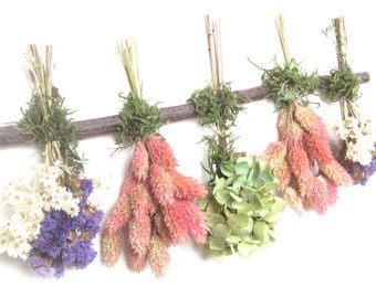 Green Pink Purple Hydrangea Pearly Everlasting Dried Flower Swag Sampler