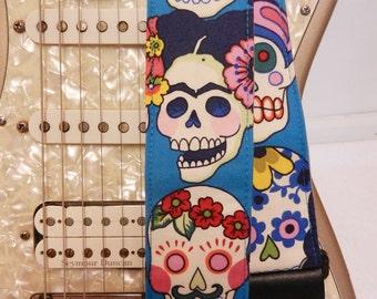 Frida Kahlo sugar skulls hipster guitar strap