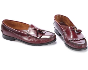LOAFERS Shoes For Men 80s Luxury Vintage Burgundy Leather High Quality Retro Flat Slip On Shoes Us 10 Uk 9.5 Eur 44
