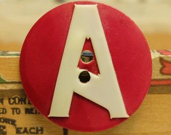 Vintage Celluloid Button Letter A