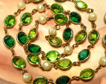 Vintage Chain Channel Set Crystal Bead Links