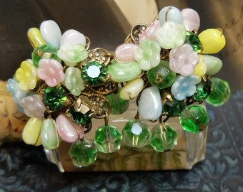 Vintage Earrings Clip On Glass Beads Flowers