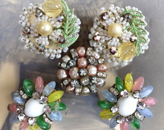 2 Pr Vintage Earrings Clip On Seed Beads Unmarked Haskell