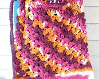 Purple Pink Orange White Multicolor Market Beach Cotton Tote Bag