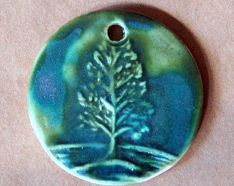 Winter Tree Ceramic Bead - Pendant Bead with Extra Large Hole