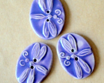 3 Big and Bold Handmade Ceramic Dragonfly Buttons - Sweet Lavender Stoneware Dragonflies