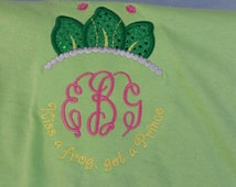 Kiss A Frog Get A Prince Monogram Shirt With Tiara Leaves