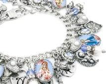 Mother Mary, Sacred Heart Jewelry, Catholic Bracelet, Virgin Mary, Immaculate Heart