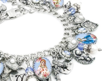Mother Mary, Sacred Heart Jewelry, Catholic Bracelet, Virgin Mary, Immaculate Heart