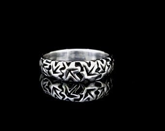 Tumbling Maple Leaves Ring, large, sterling silver