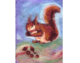 Squirrl-blessing card- print reproduction of my original needle felted wool painting