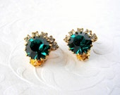 Sweet Little Green Rhinestone Clip Earrings  Gold Tone Setting Vintage Costume Jewelry Christmas Wedding Holiday Bride Prom Pageant Ballroom