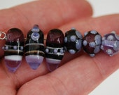 Brown and Purple Daggers and Dots - Handmade Lampwork Glass Bead Set